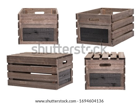 Rustic Wooden Crates Wooden Boxes Wood With Without Lids Black Board Sign Label End. Individual Pen Tool Created Clipping Work Paths for Easy Compositing Included in JPEG Isolated on White Background