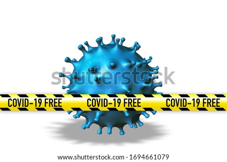 Covid 19 free zone from infections and epidemic. Blue coronavirus comics with Covid 19 free band aid on white background. 3D illustration