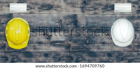Labor day concept on wood background. Social distancing at least 2 metres or 6 feet away from other people. Royalty-Free Stock Photo #1694709760