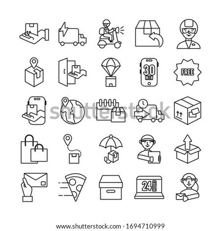 bundle of delivery service icons vector illustration design #1694710999