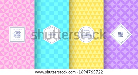 Retro pastel triangle patterns. Set of vector patterns retro style color. Cute fashion background design. Patterns for birthday celebrations, kids invitation, scrapbooking. Retro collection #1694765722