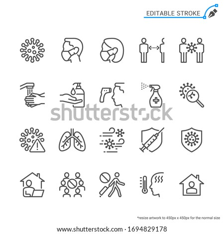 Cold and flu prevention line icons. Editable stroke. Pixel perfect. #1694829178