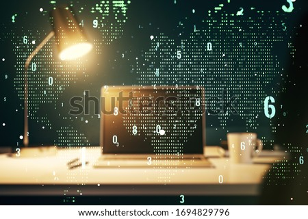 Double exposure of abstract programming language with world map on laptop background, research and development concept