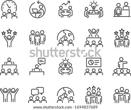 set of business icons, teamwork, working, meeting, management, people Royalty-Free Stock Photo #1694837689