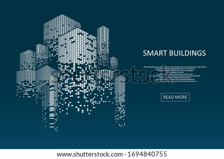 Smart building concept design for city illustration. Graphic concept for your design. Royalty-Free Stock Photo #1694840755