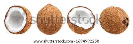 Collection of delicious coconuts, isolated on white background Royalty-Free Stock Photo #1694992258