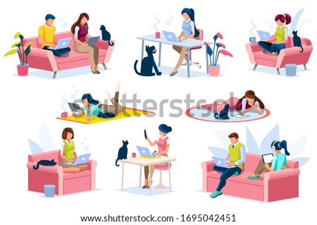 Home with girl working in isolation. Homes equipment to working home. Education on smart home for smart woman, homes digital work. Clothes for homes life isolated cartoon character vector illustration #1695042451