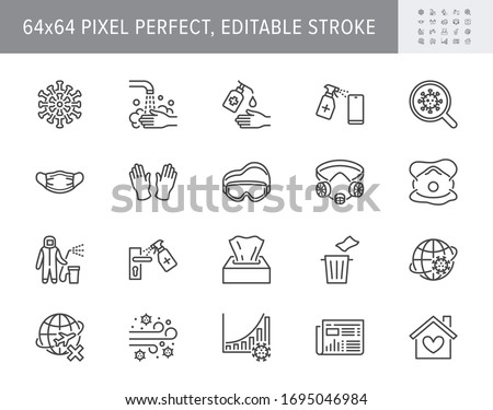 Coronavirus, virus prevention line icons. Vector illustration include icon - wash hands disinfection, face mask, sanitizer gloves outline pictogram for infographic. 64x64 Pixel Perfect Editable Stroke #1695046984