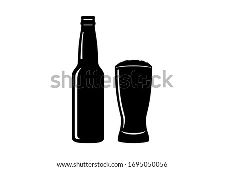 Beer bottle and glass icon silhouette. Alcohol bottle and glass isolated on a white background. Bottle of beer illustration