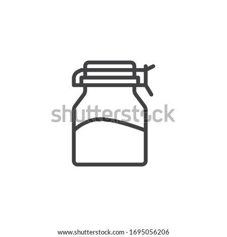 Spices glass jar line icon. Condiment bottle linear style sign for mobile concept and web design. Mason jar outline vector icon. Symbol, logo illustration. Vector graphics Royalty-Free Stock Photo #1695056206