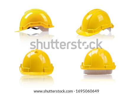 set yellow deferential helmet, construction tools for industrial safety isolated on white background   Royalty-Free Stock Photo #1695060649