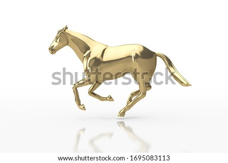 3D Illustration. Glossy Gold Strong horse in Elegant running Pose, Isolated with Clipping Path, Clipping Mask. Business Strategy planning and leadership Concept.