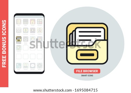File manager or file browser application icon for smartphone, tablet, laptop or other smart device with mobile interface. Simple color version. Contains free bonus icons