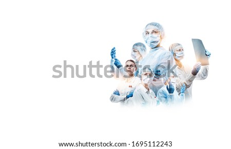 team of female doctors on a white background with place for text Royalty-Free Stock Photo #1695112243