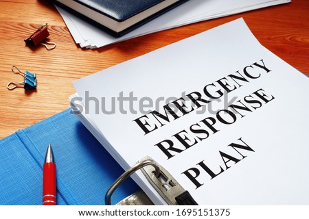Open folder with Emergency response plan. Royalty-Free Stock Photo #1695151375