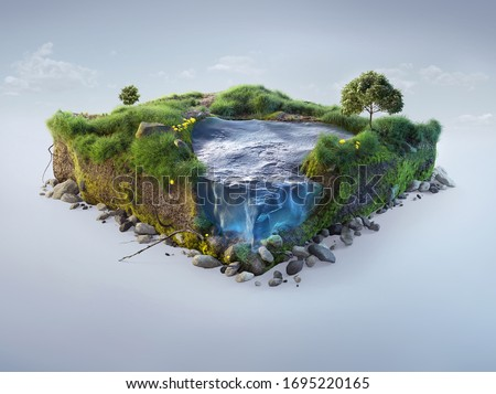 Travel and vacation background. 3d illustration with cut of the ground and the grass landscape with the cut of the pond. Baby nature isolated on white.