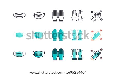 Surgical Mask And Medical Gloves. Covid-19, Coronavirus Disease 2019 Prevention. Line Outline, Flat, Filled Icons Set. Editable Stroke. Vector illustration EPS 10. #1695254404