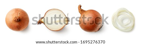 Set of fresh whole and sliced onions isolated on white background. Top view Royalty-Free Stock Photo #1695276370