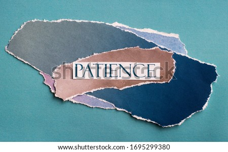 """cutout, colorful artistic collage with the words """"patience"""", artwork  Royalty-Free Stock Photo #1695299380"""