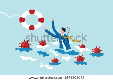 Coronavirus crisis help policy, business insurance or government stimulus to aid small business and entrepreneur to survive in COVID-19 outbreak, businessman try to hold life buoy with virus around. #1695302092