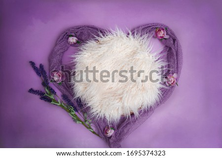 Floral newborn digital background with heart shape and lavender. Composite for baby photography.