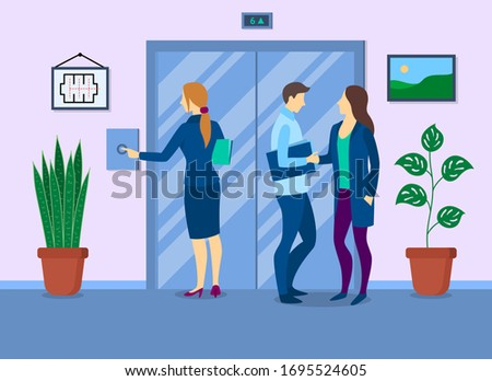 Cartoon Color Characters People and Waiting Elevator Concept Flat Design Interior Business Building. Vector illustration of Lift #1695524605