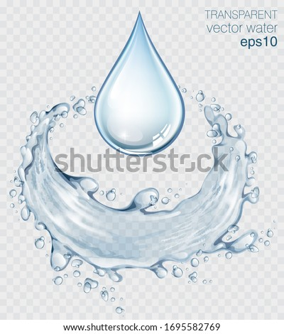 Blue transparent water splashes and drops. Realistic isolated vector illustration  #1695582769