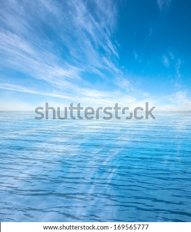 blue sea and clouds on sky #169565777