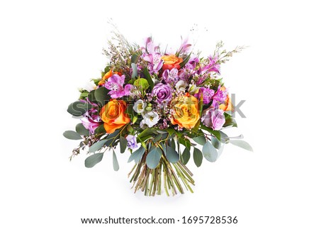 Pastel colors wedding bouquet  isolated on white Royalty-Free Stock Photo #1695728536