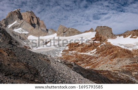 Panoramic view from the hiking trail of Cuadrado pass and glacier Fitz Roy east located near river Electrico, the Los Glaciares National Park, Argentina. #1695793585