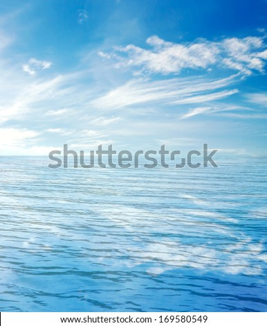 blue sea and clouds on sky #169580549