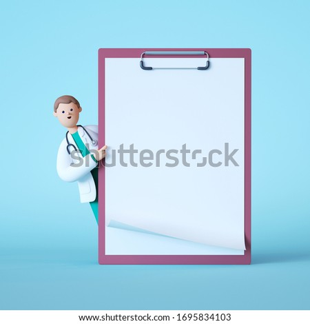 3d render. Cartoon doctor character standing near big clip board with white paper. Clip art isolated on blue background. Professional consultation. Prescription blank mockup. Medical concept