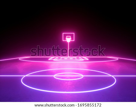 3d render, pink blue glowing neon light, basket on basketball field scheme, virtual sport playground, sportive game. Isolated on black background.