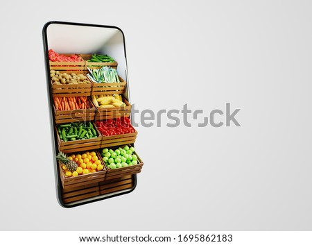 Service for delivery app. Food market in smartphone. Online shop. Food delivery background concept. Online shop in your smartphone.  #1695862183