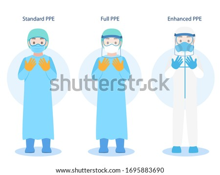 Set of Doctors Character wearing in PPE personal protective suit Clothing isolated and Safety Equipment for prevent Corona virus, people wearing Personal Protective Equipment.Work safety Royalty-Free Stock Photo #1695883690