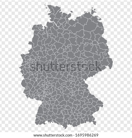 Blank map Germany. Districts of Germany map. High detailed gray vector map of Germany on transparent background for your web site design, logo, app, UI. EPS10.  Royalty-Free Stock Photo #1695986269