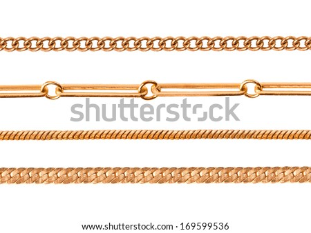Different gold chains isolated on white #169599536