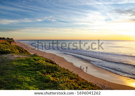 Beautiful sunset over the pacific ocean in California