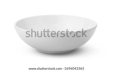 white ceramics bowl isolated on white background Royalty-Free Stock Photo #1696043365