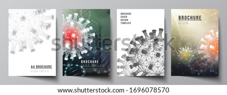 Vector layout of A4 cover mockups templates for brochure, flyer layout, booklet, cover design, book design. 3d medical background of corona virus. Covid 19, coronavirus infection. Virus concept. #1696078570