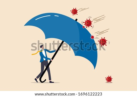 COVID-19 Coronavirus outbreak financial crisis help policy, company and business to survive concept, businessman leader stand safe by cover himself with big umbrella from COVID-19 Coronavirus pathogen #1696122223