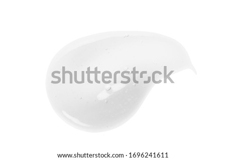 Cosmetic gel, serum texture. White clear liquid cream swatch smear smudge isolated on white. Face scrub cleanser, shower gel, liquid soap drop. Transparent skin care product closeup #1696241611