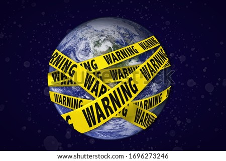 Earth with warning yellow tape. Global catastrophe concept (greenhouse effect, global warming, pollution, viruses are destroying our planet). Earth photo by NASA. Royalty-Free Stock Photo #1696273246