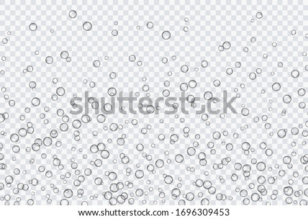 Air bubbles, oxygen, champagne crystal clear, isolated on a transparent background of modern design. Vector illustration of EPS 10. #1696309453