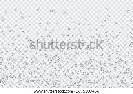 Air bubbles, oxygen, champagne crystal clear, isolated on a transparent background of modern design. Vector illustration of EPS 10. #1696309456