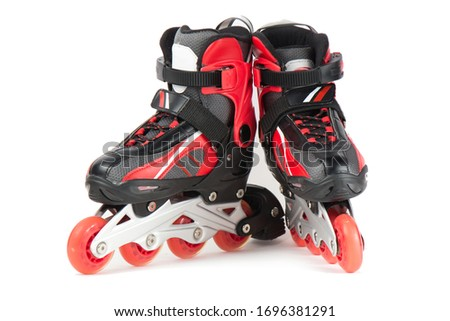 Sports black and red skating rollers on a white background.