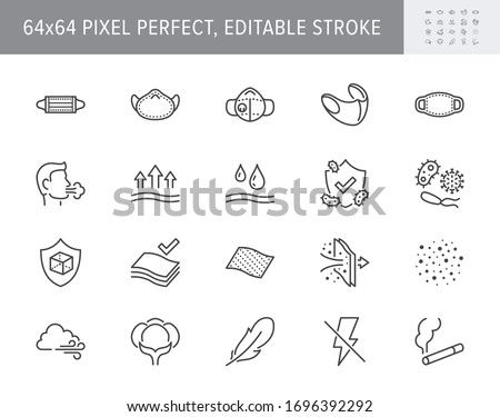 Medical masks line icons. Vector illustration includes icon such as - n95 respirator mask, external influence protection, breathable outline pictogram, material properties 64x64 Pixel Perfect Editable Stroke #1696392292