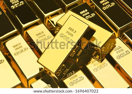 Stack of gold bars, Financial concepts Royalty-Free Stock Photo #1696407022