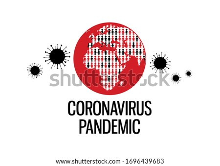 Coronovaris pandemic lettering with planet earth with infected population illustration. Coronavirus disease icon isolated on a white background. COVID-2019 clip art. Earth with diseased people icon