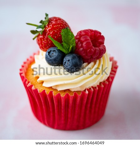 Strawberry Cupcake With Fresh Berries #1696464049
